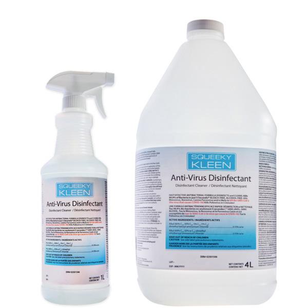 1 Litre Spray Bottle & 4 Litre Jug of Squeeky Kleen Anti-Virus Disinfectant